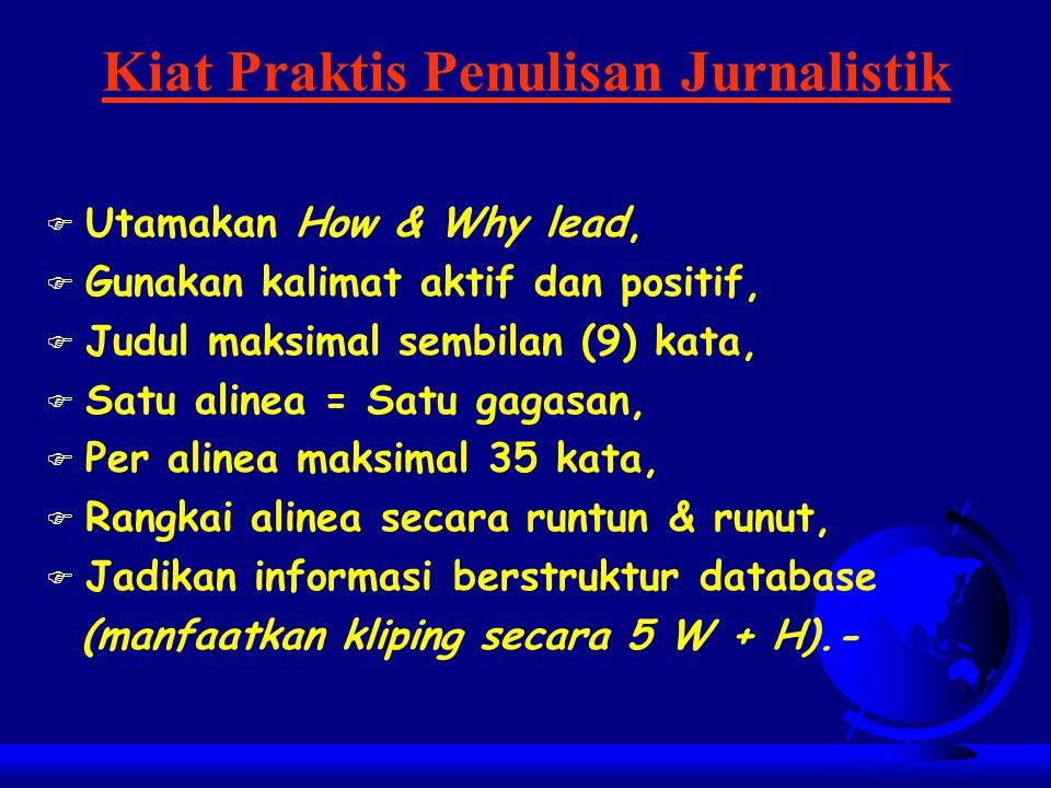 Kiat Menjadi Penulis Media Massa FPFPertahankan hubungan baik dengan nara sumber, FBFBiasakan menyusun rencana liputan. FPFPerhatikan gagasan orang la