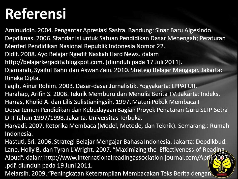 Referensi Aminuddin.2004. Pengantar Apresiasi Sastra.