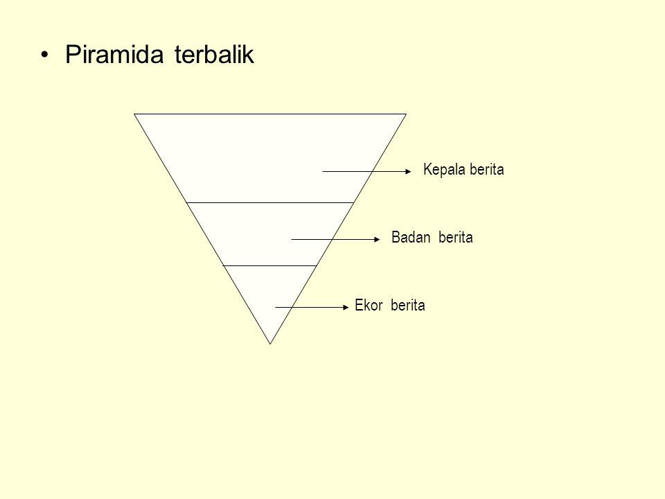 •Piramida terbalik Kepala berita Badan berita Ekor berita