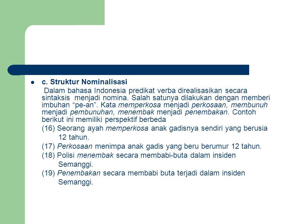  c. Struktur Nominalisasi Dalam bahasa Indonesia predikat verba direalisasikan secara sintaksis menjadi nomina. Salah satunya dilakukan dengan member
