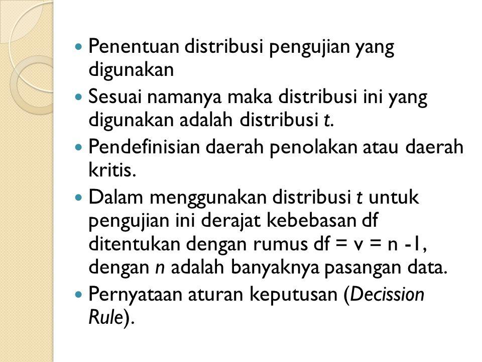  Penentuan distribusi pengujian yang digunakan  Sesuai namanya maka distribusi ini yang digunakan adalah distribusi t.  Pendefinisian daerah penola
