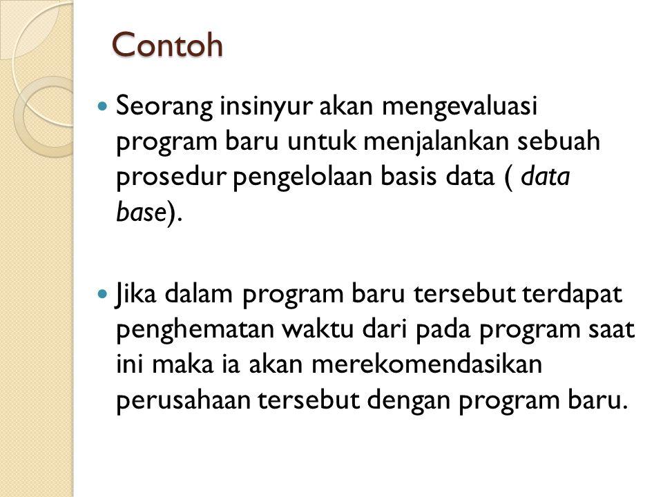 Contoh  Seorang insinyur akan mengevaluasi program baru untuk menjalankan sebuah prosedur pengelolaan basis data ( data base).  Jika dalam program b