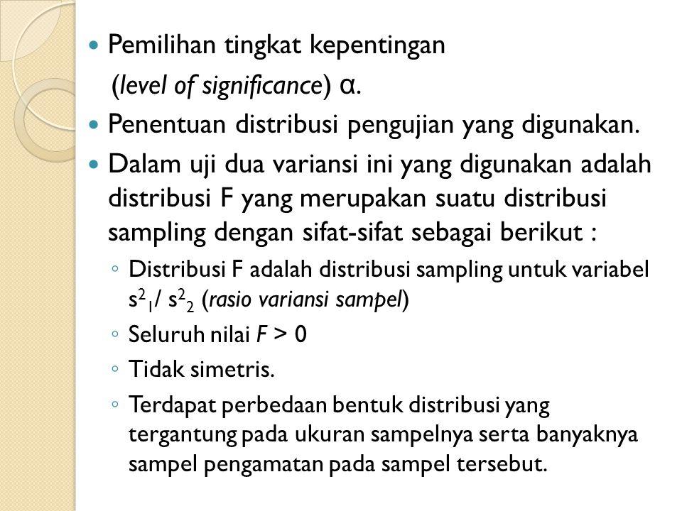  Pemilihan tingkat kepentingan (level of significance) α.  Penentuan distribusi pengujian yang digunakan.  Dalam uji dua variansi ini yang digunaka