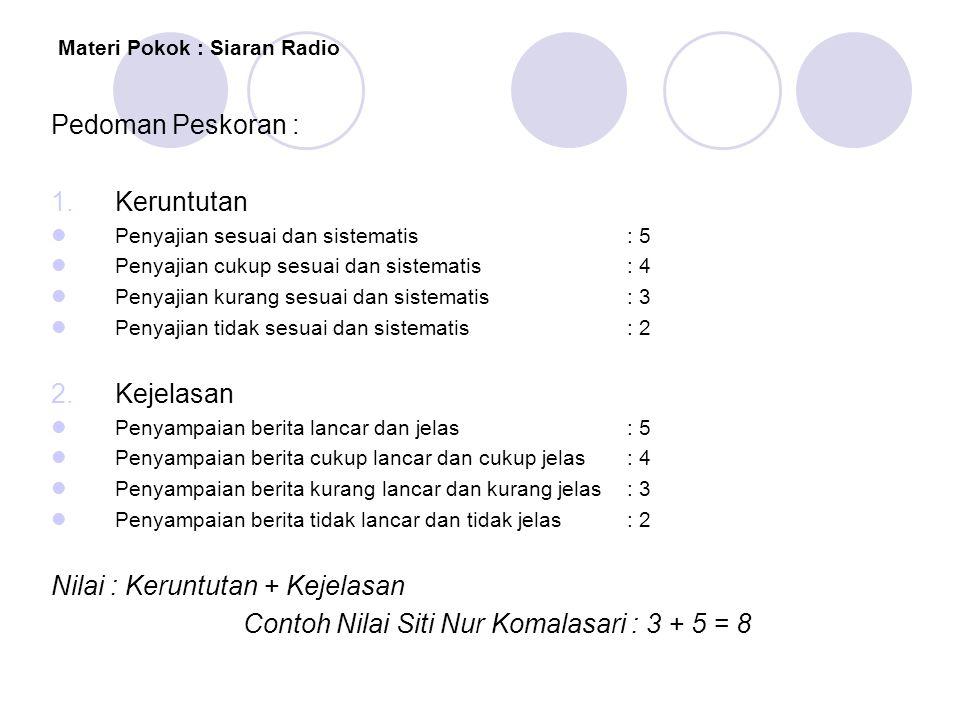 Materi Pokok : Siaran Radio Pedoman Peskoran : 1.Keruntutan  Penyajian sesuai dan sistematis: 5  Penyajian cukup sesuai dan sistematis: 4  Penyajia