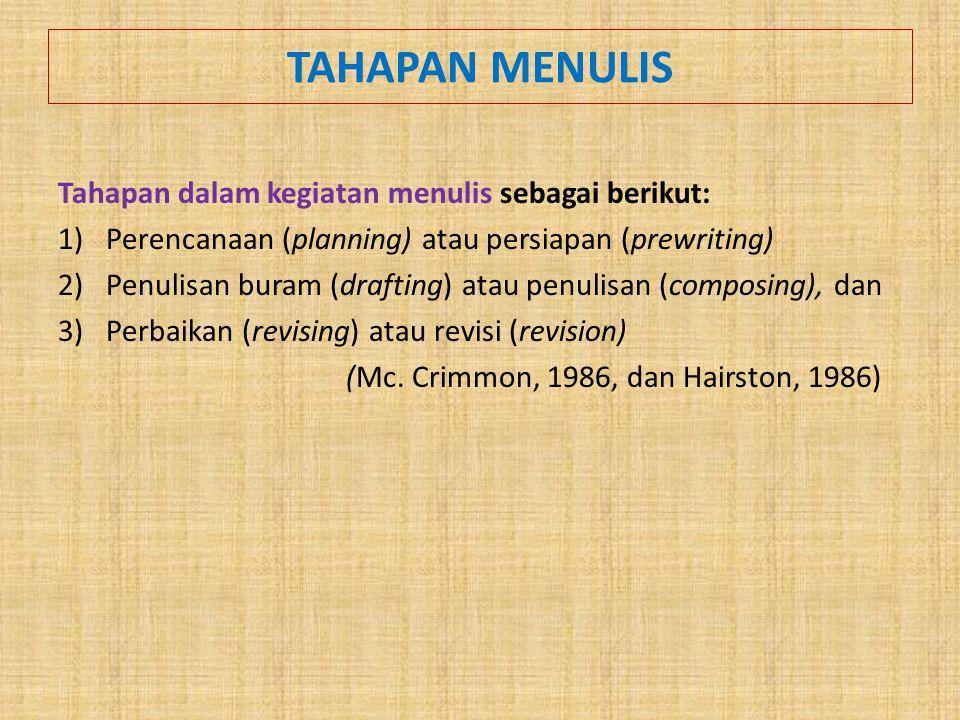 TAHAPAN MENULIS Tahapan dalam kegiatan menulis sebagai berikut: 1)Perencanaan (planning) atau persiapan (prewriting) 2)Penulisan buram (drafting) atau penulisan (composing), dan 3)Perbaikan (revising) atau revisi (revision) (Mc.
