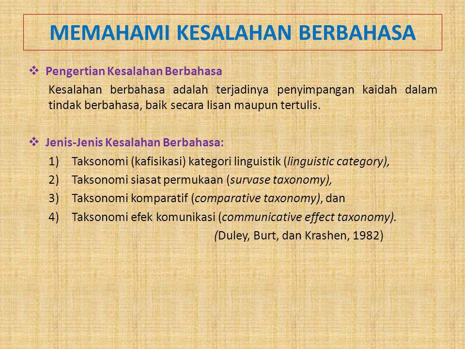 MEMAHAMI KESALAHAN BERBAHASA  Pengertian Kesalahan Berbahasa Kesalahan berbahasa adalah terjadinya penyimpangan kaidah dalam tindak berbahasa, baik s