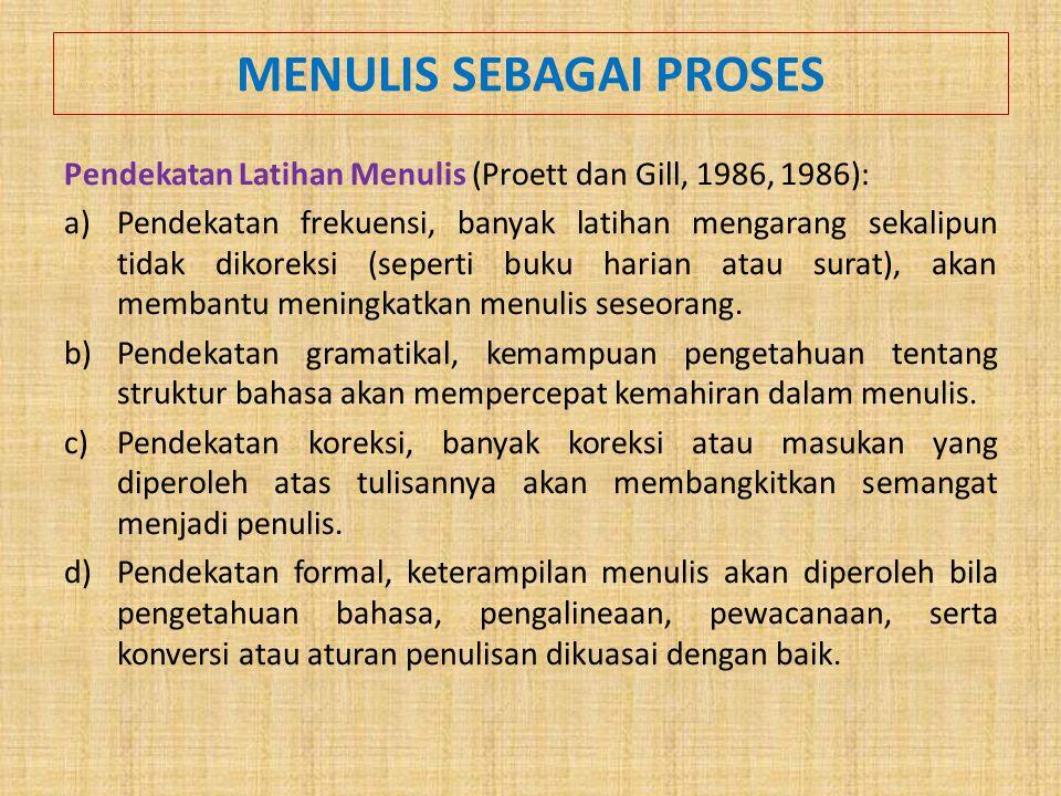 MENULIS SEBAGAI PROSES Pendekatan Latihan Menulis (Proett dan Gill, 1986, 1986): a)Pendekatan frekuensi, banyak latihan mengarang sekalipun tidak dikoreksi (seperti buku harian atau surat), akan membantu meningkatkan menulis seseorang.