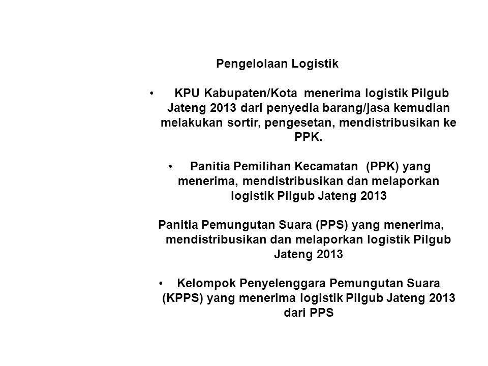 Pengelolaan Logistik • KPU Kabupaten/Kota menerima logistik Pilgub Jateng 2013 dari penyedia barang/jasa kemudian melakukan sortir, pengesetan, mendis