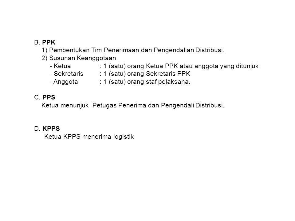 B. PPK 1) Pembentukan Tim Penerimaan dan Pengendalian Distribusi. 2) Susunan Keanggotaan - Ketua: 1 (satu) orang Ketua PPK atau anggota yang ditunjuk