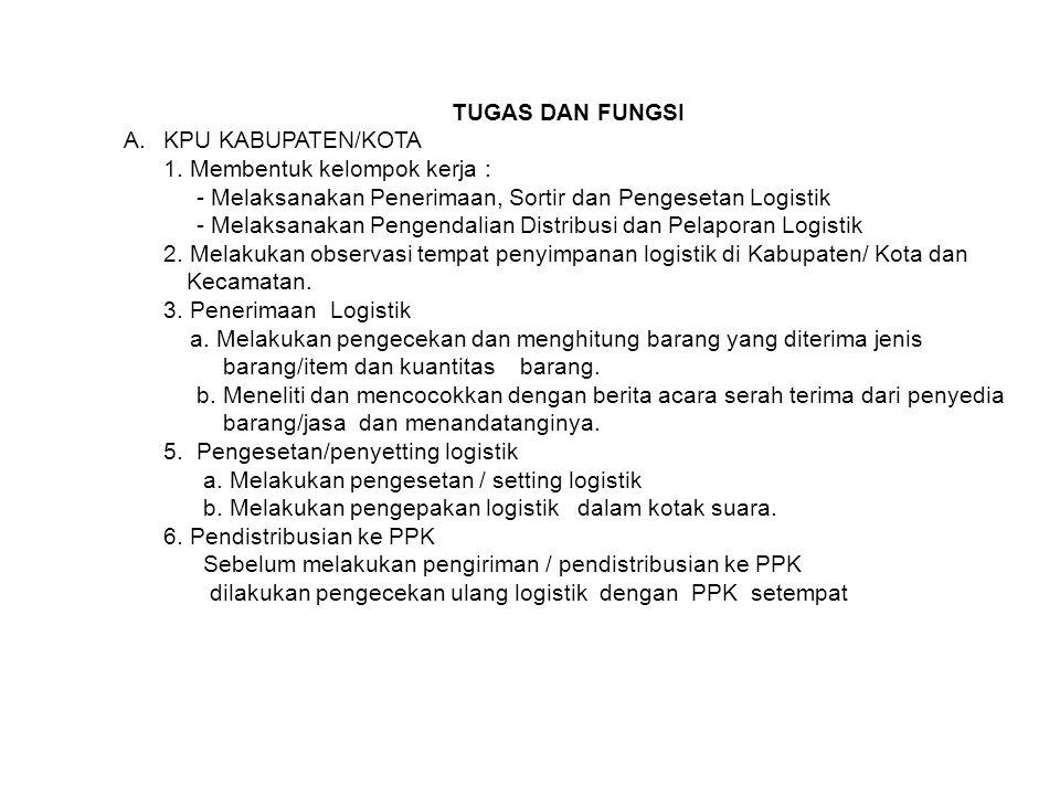 7.Membuat berita acara serah terima logistik dari KPU kabupaten/kota ke PPK 8.