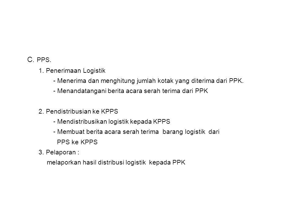 C. PPS. 1. Penerimaan Logistik - Menerima dan menghitung jumlah kotak yang diterima dari PPK. - Menandatangani berita acara serah terima dari PPK 2. P