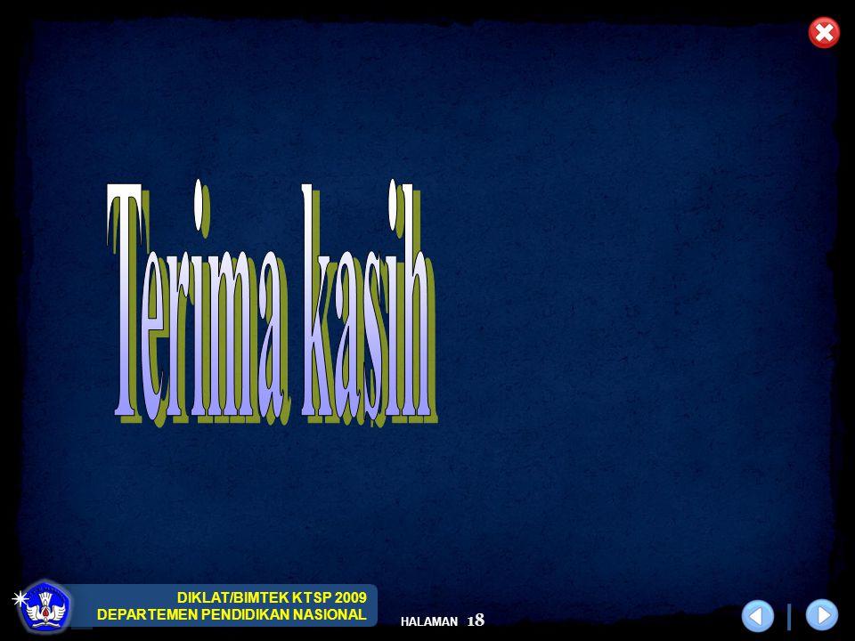 DIKLAT/BIMTEK KTSP 2009 DEPARTEMEN PENDIDIKAN NASIONAL HALAMAN 18