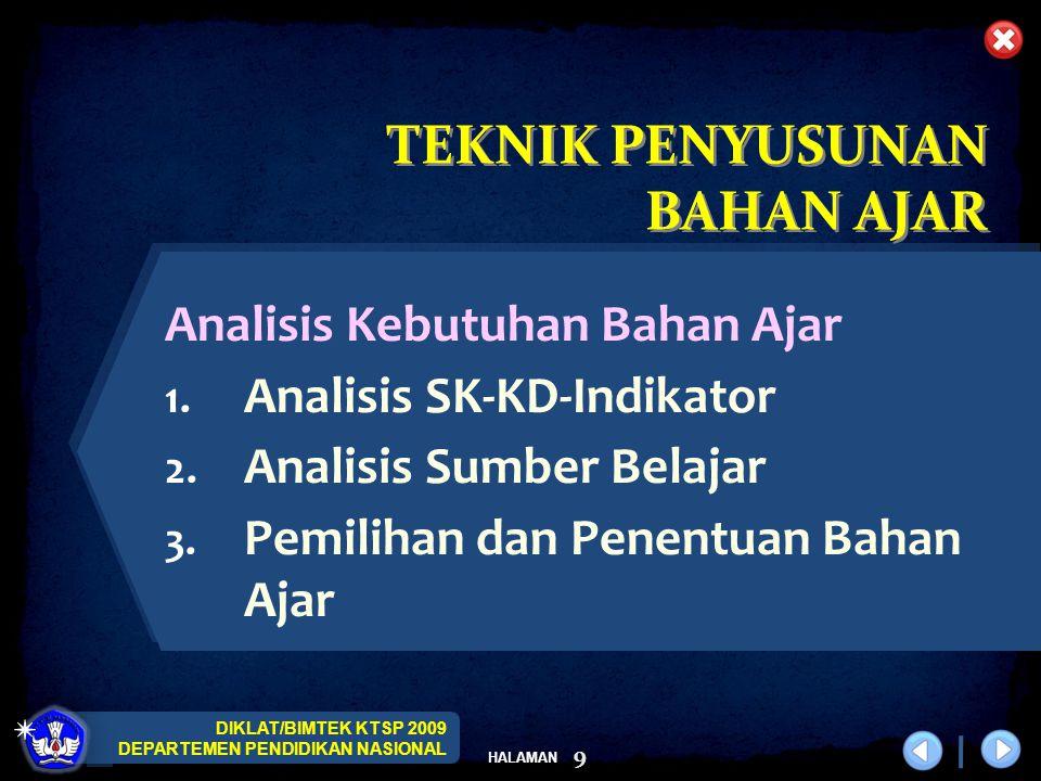 DIKLAT/BIMTEK KTSP 2009 DEPARTEMEN PENDIDIKAN NASIONAL HALAMAN 9 Analisis Kebutuhan Bahan Ajar 1. Analisis SK-KD-Indikator 2. Analisis Sumber Belajar
