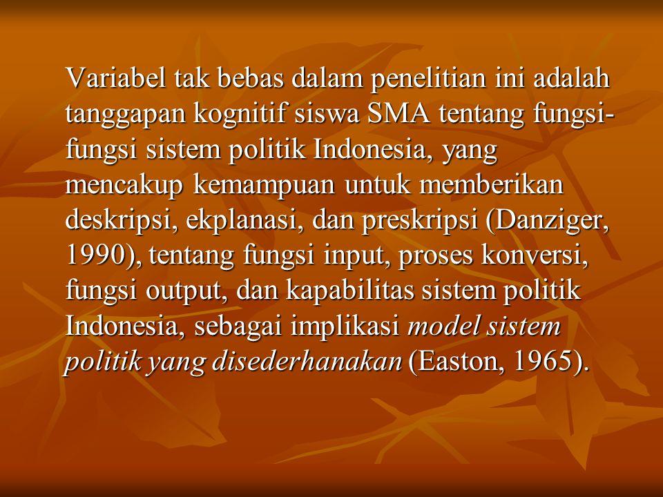 Variabel tak bebas dalam penelitian ini adalah tanggapan kognitif siswa SMA tentang fungsi- fungsi sistem politik Indonesia, yang mencakup kemampuan u