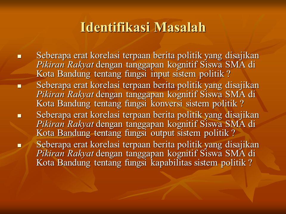 Identifikasi Masalah  Seberapa erat korelasi terpaan berita politik yang disajikan Pikiran Rakyat dengan tanggapan kognitif Siswa SMA di Kota Bandung