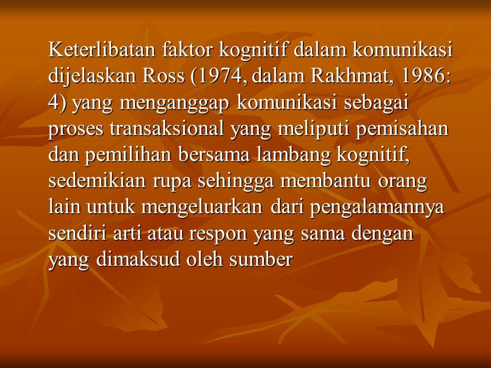 Keterlibatan faktor kognitif dalam komunikasi dijelaskan Ross (1974, dalam Rakhmat, 1986: 4) yang menganggap komunikasi sebagai proses transaksional y