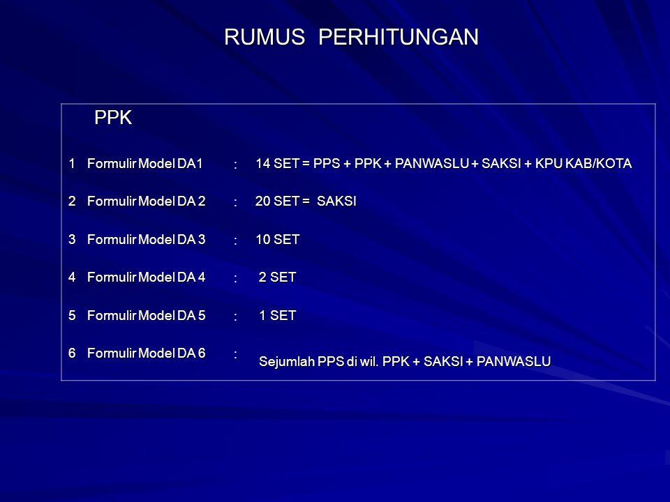 RUMUS PERHITUNGAN PPS PPS 1 Formulir Model D 1 : 15 SET = PPS + PPK + PANWASLU + SAKSI 2 Formulir Model D 2 : 20 SET = SAKSI 3 Formulir Model D 3 : 15