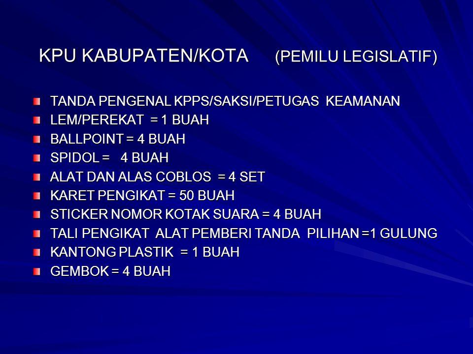 JENIS SAMPUL KPU KABUPATEN/KOTA 1 SAMPUL II S1 – DPR U/ B.A.