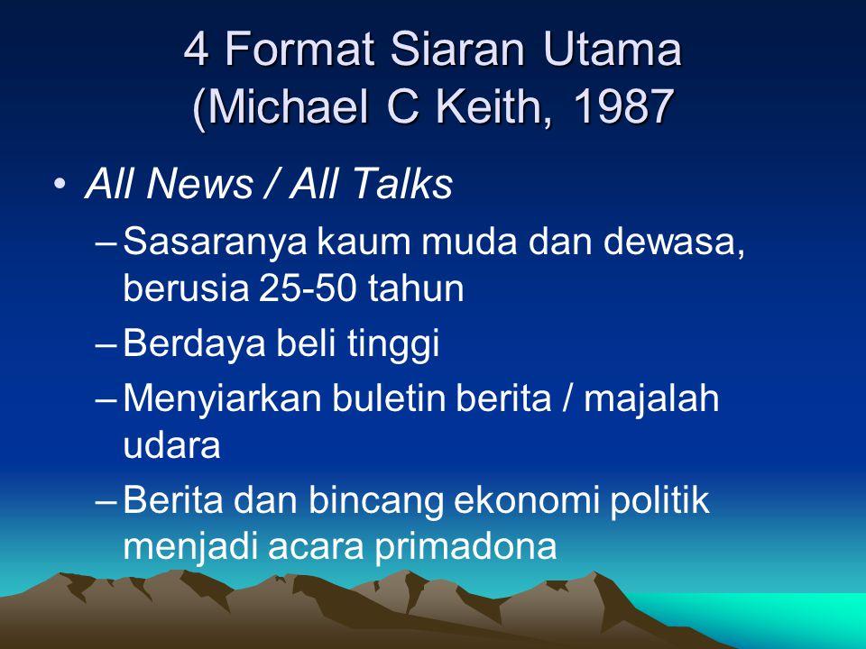 4 Format Siaran Utama (Michael C Keith, 1987 •All News / All Talks –Sasaranya kaum muda dan dewasa, berusia 25-50 tahun –Berdaya beli tinggi –Menyiark