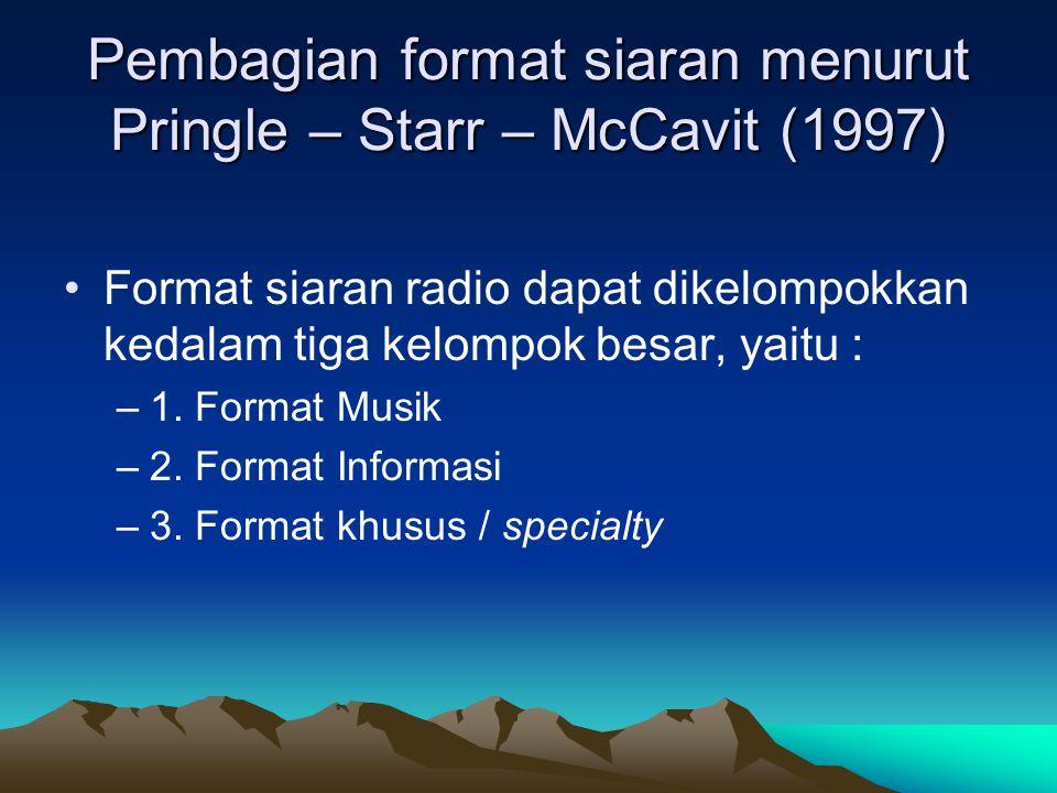 Pembagian format siaran menurut Pringle – Starr – McCavit (1997) •Format siaran radio dapat dikelompokkan kedalam tiga kelompok besar, yaitu : –1. For