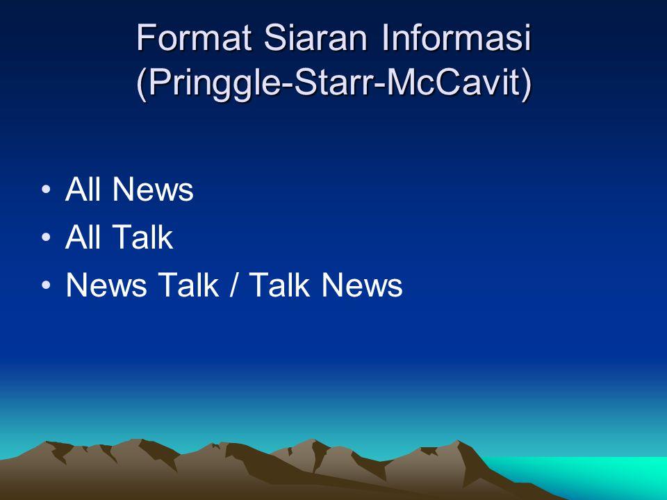 Format Siaran Informasi (Pringgle-Starr-McCavit) •All News •All Talk •News Talk / Talk News