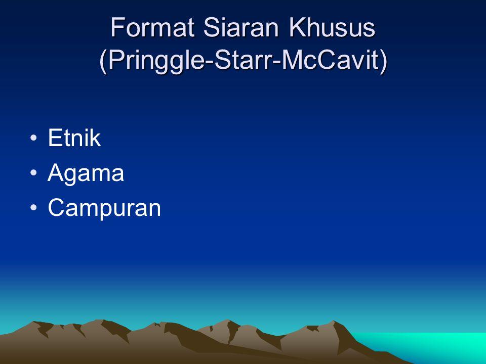 Format Siaran Khusus (Pringgle-Starr-McCavit) •Etnik •Agama •Campuran