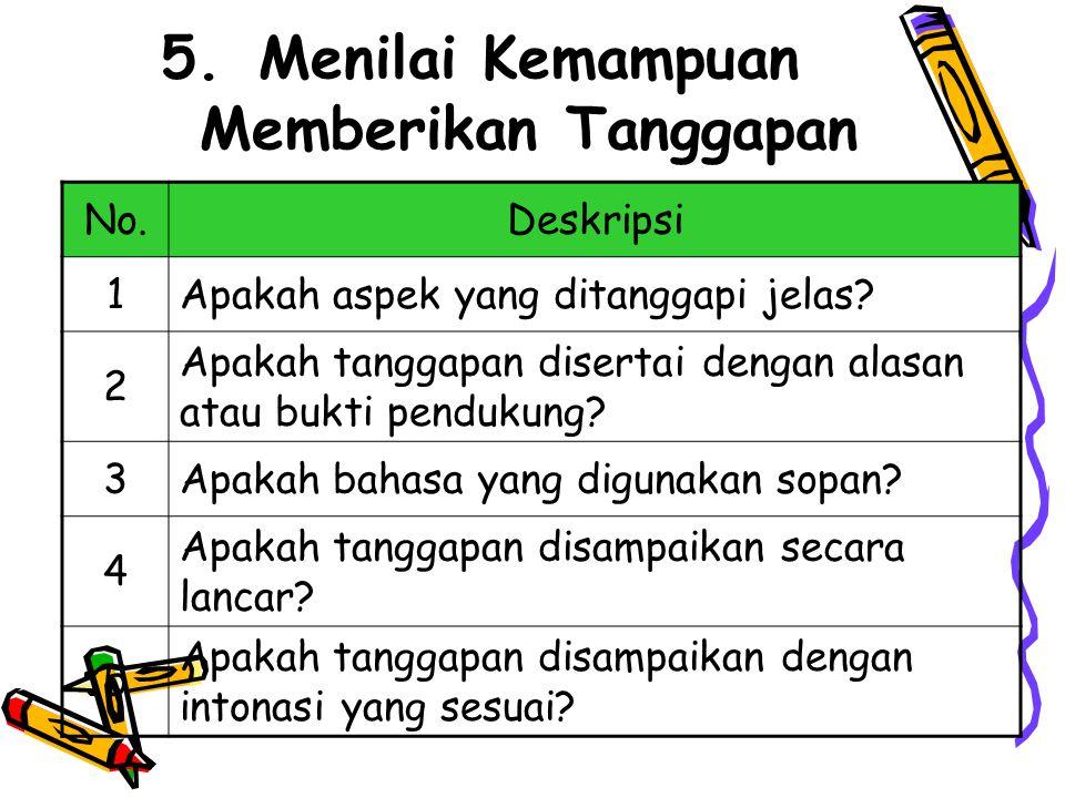 5.Menilai Kemampuan Memberikan Tanggapan No.Deskripsi 1Apakah aspek yang ditanggapi jelas.