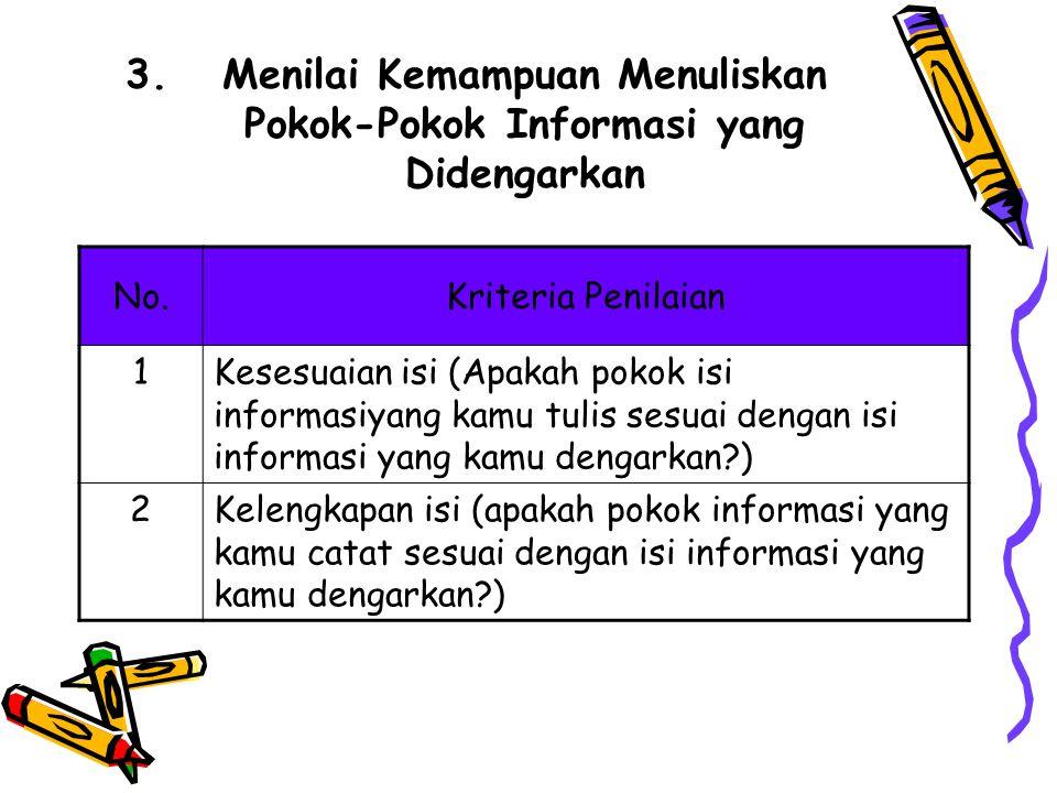 3.Menilai Kemampuan Menuliskan Pokok-Pokok Informasi yang Didengarkan No.Kriteria Penilaian 1Kesesuaian isi (Apakah pokok isi informasiyang kamu tulis sesuai dengan isi informasi yang kamu dengarkan?) 2Kelengkapan isi (apakah pokok informasi yang kamu catat sesuai dengan isi informasi yang kamu dengarkan?)