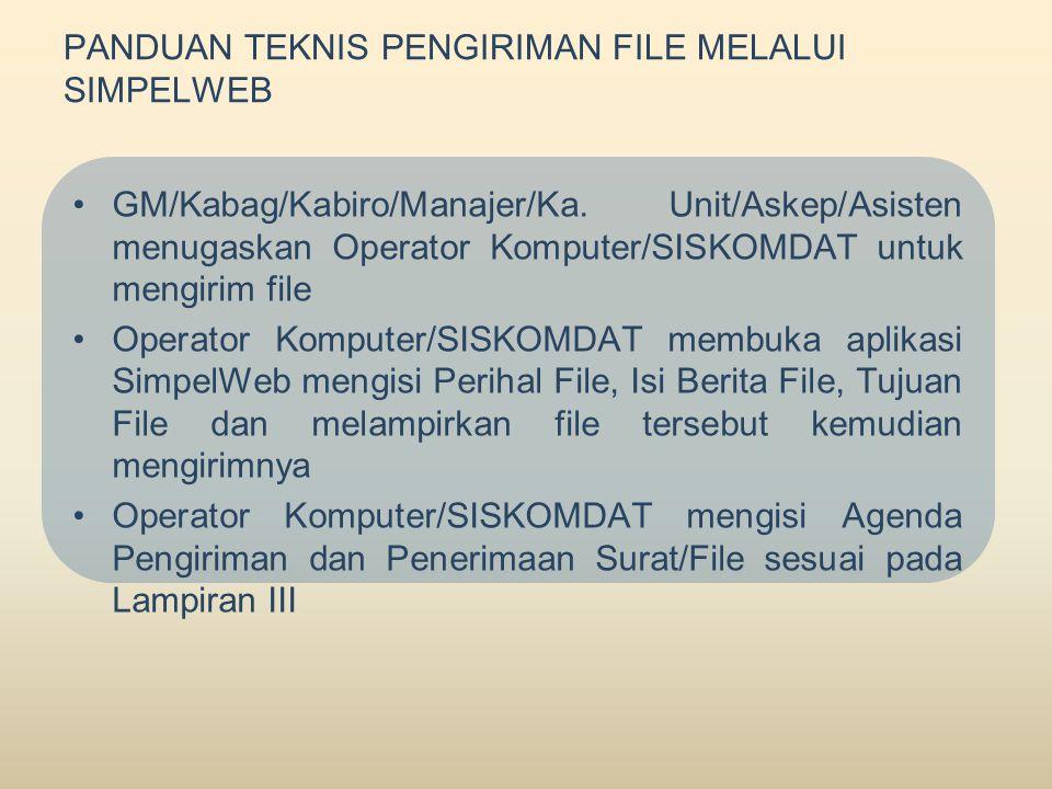 PANDUAN TEKNIS PENGIRIMAN FILE MELALUI SIMPELWEB •GM/Kabag/Kabiro/Manajer/Ka.