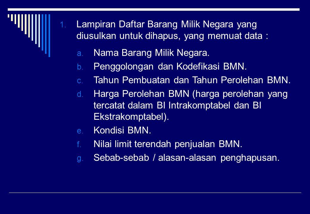1. Lampiran Daftar Barang Milik Negara yang diusulkan untuk dihapus, yang memuat data : a. Nama Barang Milik Negara. b. Penggolongan dan Kodefikasi BM