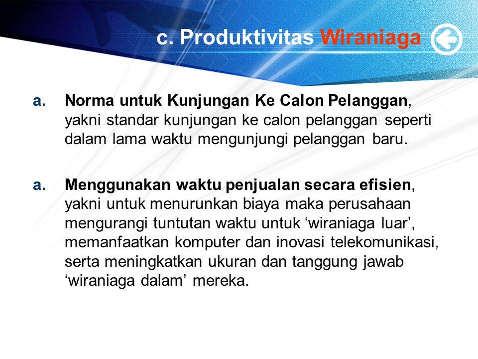 c. Produktivitas Wiraniaga a.Norma untuk Kunjungan Ke Calon Pelanggan, yakni standar kunjungan ke calon pelanggan seperti dalam lama waktu mengunjungi