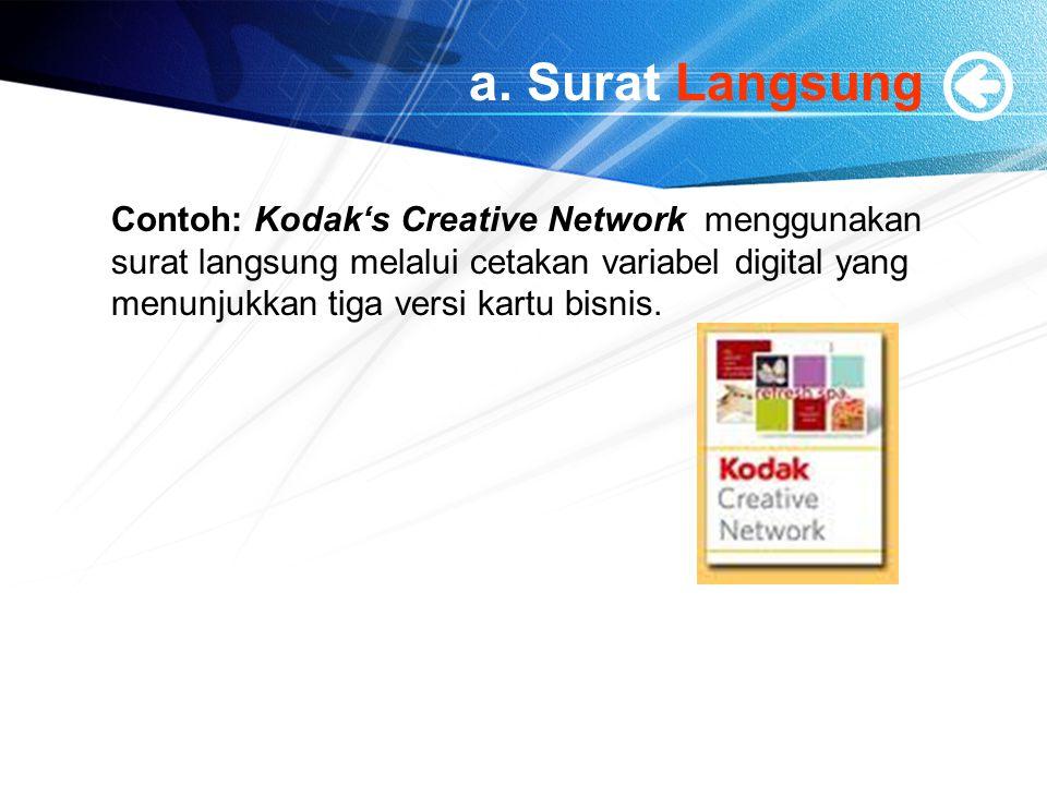 a. Surat Langsung Contoh: Kodak's Creative Network menggunakan surat langsung melalui cetakan variabel digital yang menunjukkan tiga versi kartu bisni