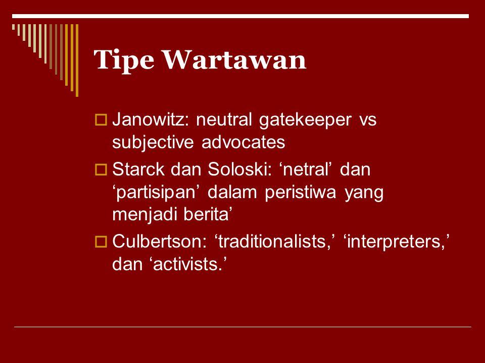 Tipe Wartawan  Janowitz: neutral gatekeeper vs subjective advocates  Starck dan Soloski: 'netral' dan 'partisipan' dalam peristiwa yang menjadi beri