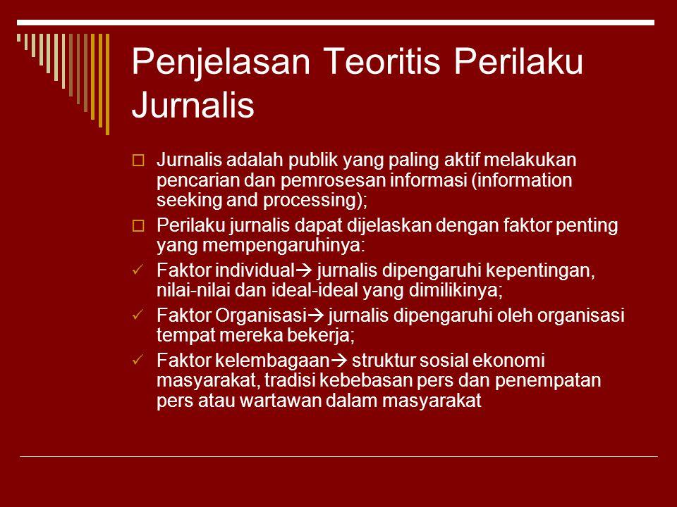 Penjelasan Teoritis Perilaku Jurnalis  Jurnalis adalah publik yang paling aktif melakukan pencarian dan pemrosesan informasi (information seeking and