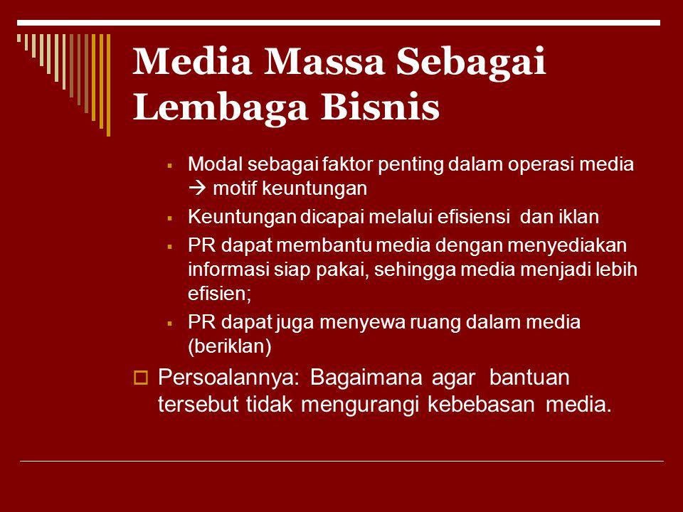 Media Massa Sebagai Lembaga Bisnis  Modal sebagai faktor penting dalam operasi media  motif keuntungan  Keuntungan dicapai melalui efisiensi dan ik