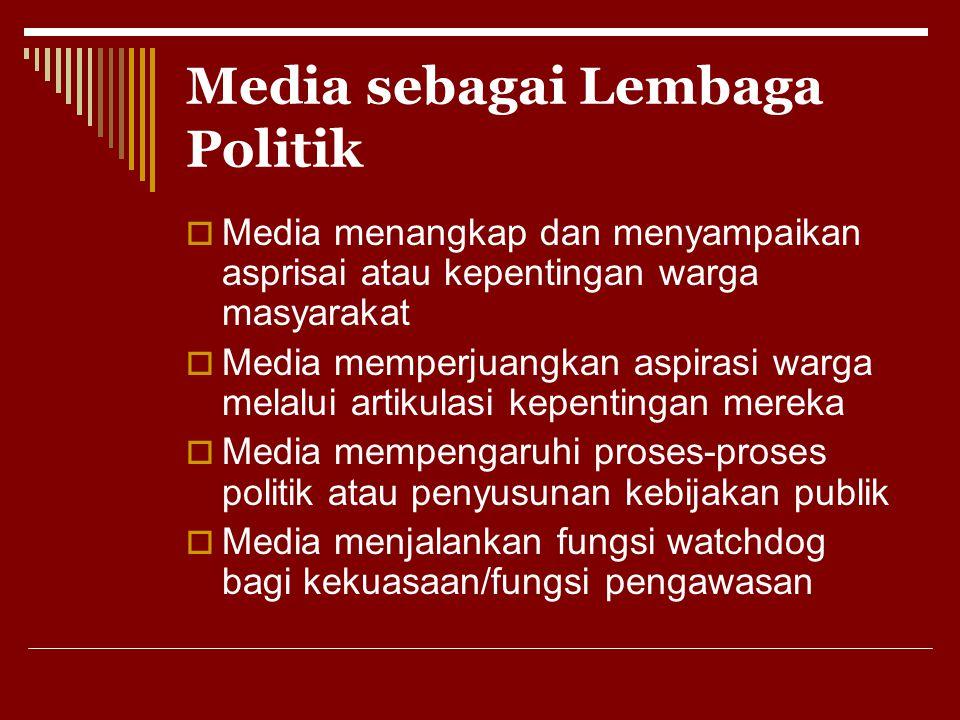 Media sebagai Lembaga Politik  Media menangkap dan menyampaikan asprisai atau kepentingan warga masyarakat  Media memperjuangkan aspirasi warga mela