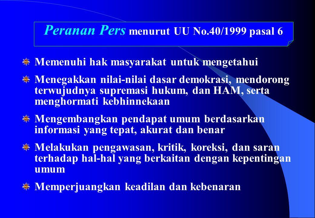 Peranan Pers menurut UU No.40/1999 pasal 6 Memenuhi hak masyarakat untuk mengetahui Menegakkan nilai-nilai dasar demokrasi, mendorong terwujudnya supr