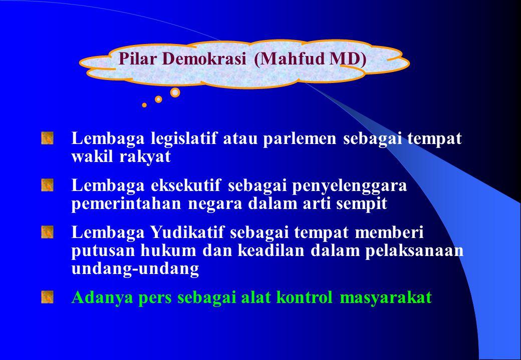 Pilar Demokrasi (Mahfud MD) Lembaga legislatif atau parlemen sebagai tempat wakil rakyat Lembaga eksekutif sebagai penyelenggara pemerintahan negara d