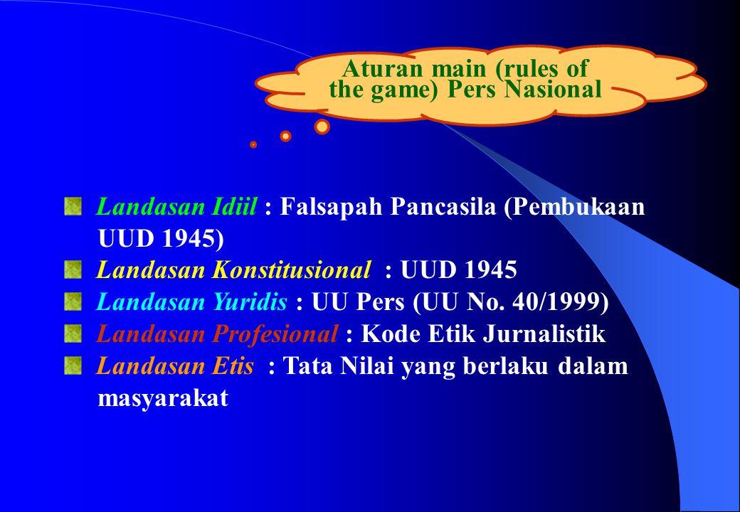 Aturan main (rules of the game) Pers Nasional Landasan Idiil : Falsapah Pancasila (Pembukaan UUD 1945) Landasan Konstitusional : UUD 1945 Landasan Yur
