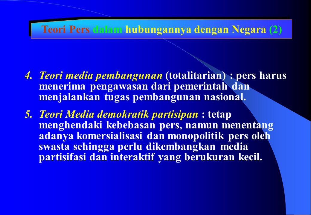 Teori Pers dalam hubungannya dengan Negara (2) 4.Teori media pembangunan (totalitarian) : pers harus menerima pengawasan dari pemerintah dan menjalank