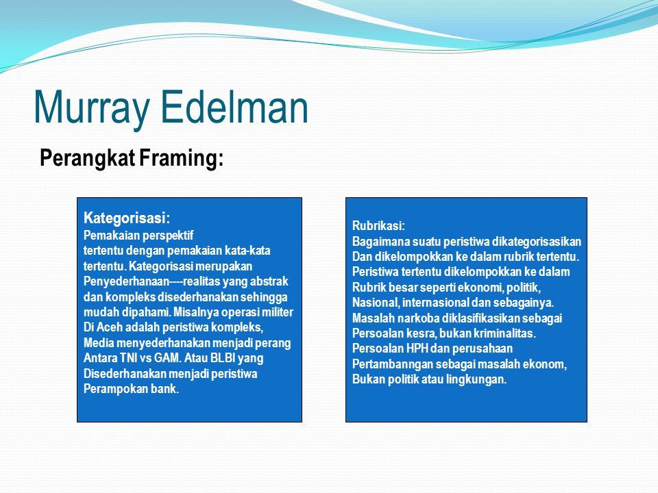 Murray Edelman Perangkat Framing: Kategorisasi: Pemakaian perspektif tertentu dengan pemakaian kata-kata tertentu. Kategorisasi merupakan Penyederhana