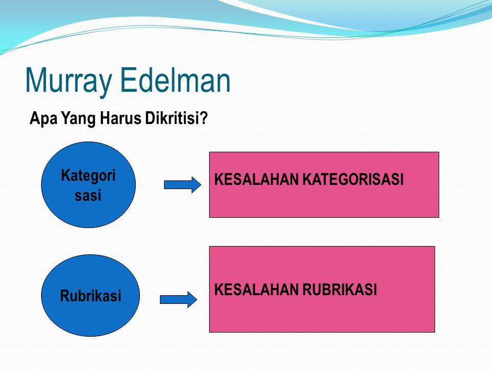 Murray Edelman Apa Yang Harus Dikritisi? Kategori sasi Rubrikasi KESALAHAN KATEGORISASI KESALAHAN RUBRIKASI