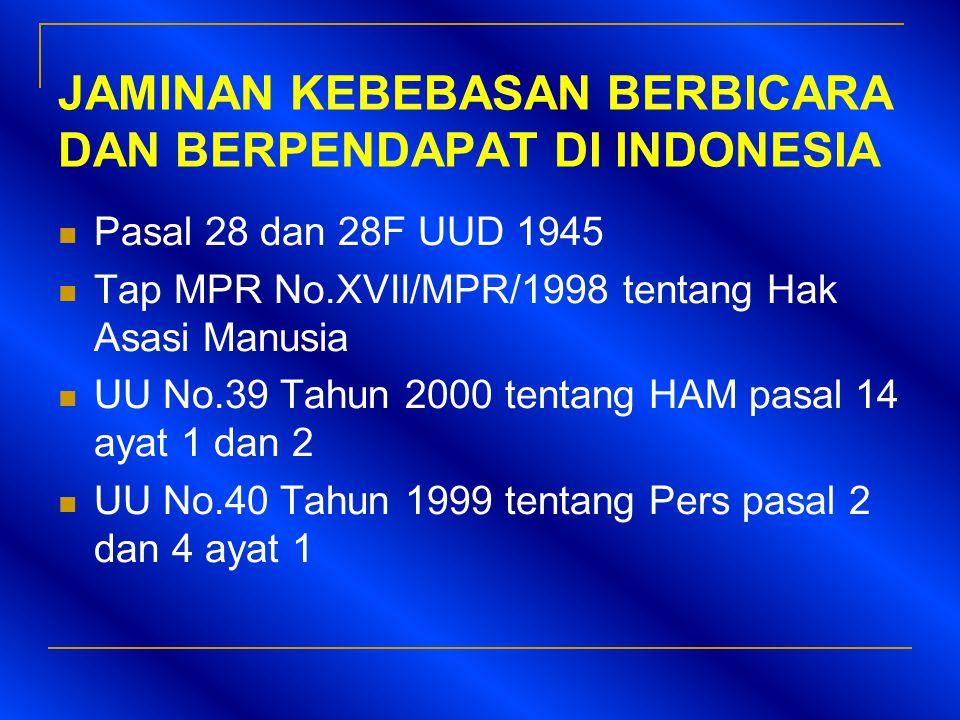JAMINAN KEBEBASAN BERBICARA DAN BERPENDAPAT DI INDONESIA  Pasal 28 dan 28F UUD 1945  Tap MPR No.XVII/MPR/1998 tentang Hak Asasi Manusia  UU No.39 T