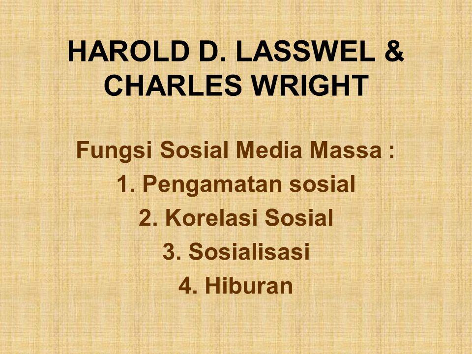 HAROLD D. LASSWEL & CHARLES WRIGHT Fungsi Sosial Media Massa : 1. Pengamatan sosial 2. Korelasi Sosial 3. Sosialisasi 4. Hiburan