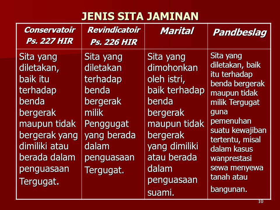 10 JENIS SITA JAMINAN Conservatoir Ps. 227 HIR Revindicatoir Ps. 226 HIR MaritalPandbeslag Sita yang diletakan, baik itu terhadap benda bergerak maupu