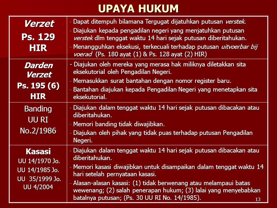 13 UPAYA HUKUM Verzet Ps. 129 HIR - Dapat ditempuh bilamana Tergugat dijatuhkan putusan verstek. - Diajukan kepada pengadilan negeri yang menjatuhkan