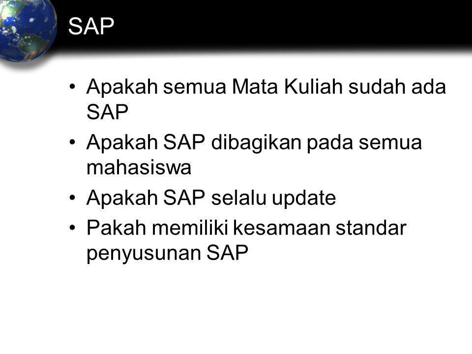 SAP •Apakah semua Mata Kuliah sudah ada SAP •Apakah SAP dibagikan pada semua mahasiswa •Apakah SAP selalu update •Pakah memiliki kesamaan standar penyusunan SAP