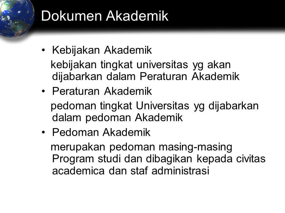 Dokumen Akademik •Kebijakan Akademik kebijakan tingkat universitas yg akan dijabarkan dalam Peraturan Akademik •Peraturan Akademik pedoman tingkat Universitas yg dijabarkan dalam pedoman Akademik •Pedoman Akademik merupakan pedoman masing-masing Program studi dan dibagikan kepada civitas academica dan staf administrasi