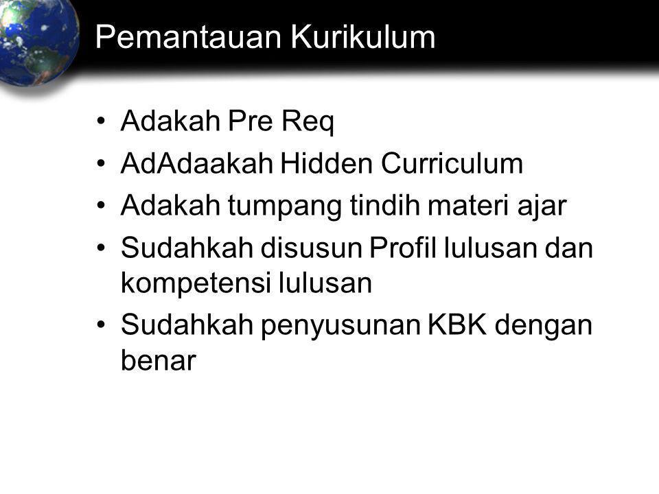 Pemantauan Kurikulum •Adakah Pre Req •AdAdaakah Hidden Curriculum •Adakah tumpang tindih materi ajar •Sudahkah disusun Profil lulusan dan kompetensi lulusan •Sudahkah penyusunan KBK dengan benar
