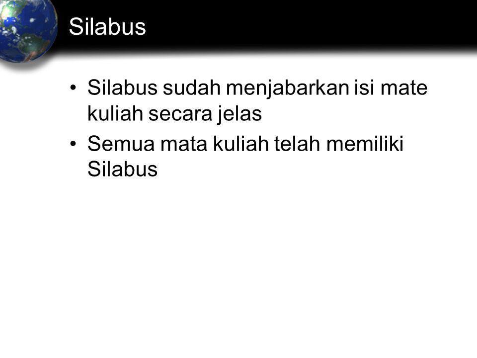 Silabus •Silabus sudah menjabarkan isi mate kuliah secara jelas •Semua mata kuliah telah memiliki Silabus